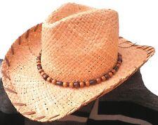 Cappello Di Paglia da Cowboy Western UNISEX NATURALE raffiastroh VACANZA MARE