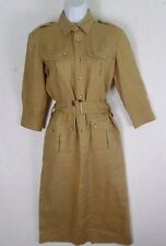 Ralph Lauren Vintage Tan Linen Military Belted 3/4 Slv Women' Dress S Bust 40""