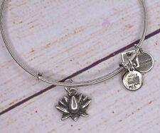 Alex and Ani Lotus Blossom Charm Silver Bracelet