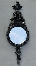Espejo de Pared Negro Plata Redondo Antiguo baño 62x23 Barroco C500