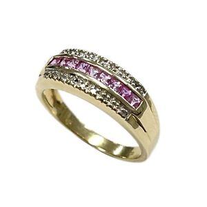 Pink CZ Gold Ring