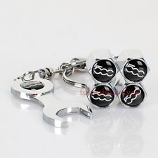 Car Tire Valve Caps Air Valve Dust Covers Wrench Keychain 500 Logo For Fiat