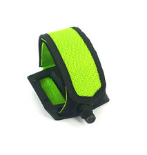 BICYCLE PEDAL NYLON DOUBLE WIDE STRAPS, GREEN