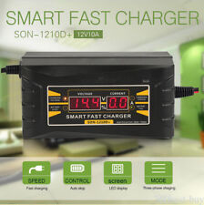 Smart Car Battery Charger 12V 10A Lead-acid Battery Charger LCD Display EU Plug