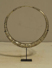 Chinese Miao Necklace Silver Etched Collar Hill Tribe Jewelry Silver Necklace