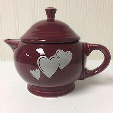 Fiesta 2 Cup Teapot Cinnabar Maroon Valentines Decal Gray Trio Of Hearts Retired