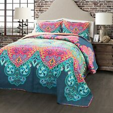 Boho Chic Quilt Turquoise/Navy 3Pc Set Full/Queen