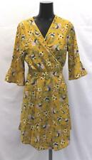 ASOS Women's QED London Floral Mini Wrap Dress NB7 Mustard Size US:12 UK:16 NWT