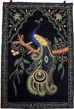 Peacock Wall Hanging Rug Jewel Carpet Kashmir Hand Embroidery India Room Decor