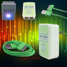 100X 4 USB PORTS HUB WALL ADAPTER+10FT CABLE POWER CHARGER SYNC GREEN GALAXY TAB
