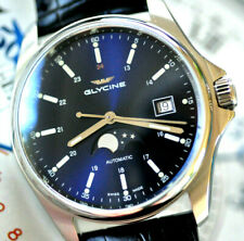 Glycine Automatic Watch Stunning Dark Blue Moonphase Moon Phase Dial NEW in Box!