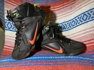 Nike LeBron XII 12 Data Black Bright Mango Volt US Size 11 684593-068 2014