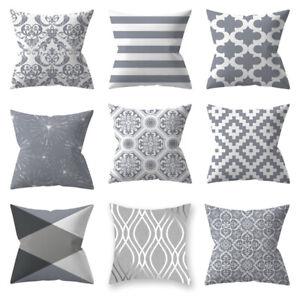 1PC Silver Gray Pillow Case Geometric Throw Pillow Case Sofa Home Cushion Cover