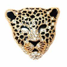 Yellow Gp Brooch Pin B7627 Leopard Cheetah Head Enamel Crystal 18K