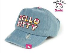 NWT SANRIO HELLO KITTY ADJUSTABLE DENIM CAP LIGHT WASH GREAT LOGO 100% COTTON