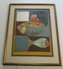 LARGE RODO BOULANGER LITHOGRAPH MODERNISM PORTRAIT FISH ABSTRACT MODERNISM RARE