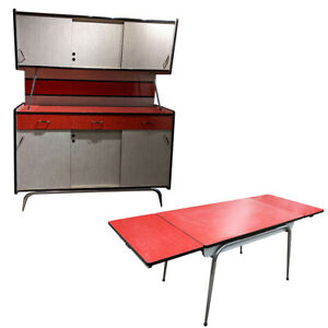 Formica Sideboard Unit, Extending Table & 6 Chairs 1950s/1960s (Red)