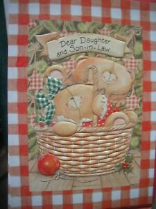 Dear DAUGHTER & SON-IN-LAW Happy Christmas (Bears & Basket) Forever Friends Card