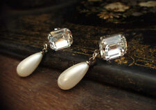 Vintage Emerald Cut Clear Rectangle Crystal  & Pearl Drop Pierced Earrings