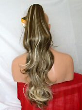 "Clip in Hair Pony Tail Hair Extension Brown Blonde Streak #4/613 25"" LONG CARA"