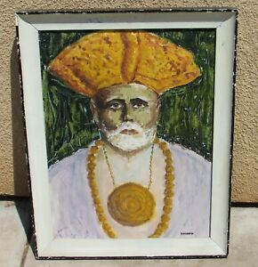 Mid Century Modernist oil of a Religious Man with Medallion signed Passon