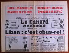 Le Canard Enchaîné 9/11/1983; Document; Doumeng épargné par le Fisc/ Liban