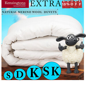 Natural 100% Merino Wool Duvet Pure Wool Luxury Hotel Quality All Sizes & Togs