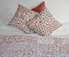 Indian Hand Block-Printed Cotton Bedspread/Quilt-Dusty Pink-Single-150x220cm