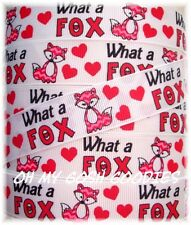 7/8 WHAT A FOX VALENTINE PINK RED CHEVRON GROSGRAIN RIBBON DOES SAY FOR BOW 5 YD