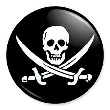 "Jolly Roger 25mm 1"" Pin Badge Button Pirate Flag Skull Crossbones"
