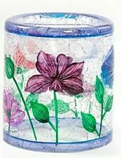Poppy Crackle Glass Tea Light Holder Yankee Candle small cylinder NEW 1187115
