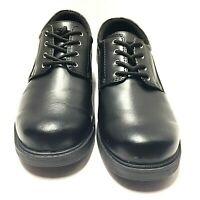 Safe T Step Comfort Womens Black Leather Slip Resistant Work Shoes Size 8 W Us