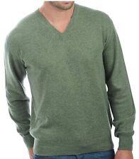 Balldiri 100% Cashmere cachemira señores suéter V escote verde jaspeadas L