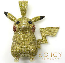 2.00ct Mens 10k Yellow Real Solid Gold Canary Diamond Pikachu Pendant