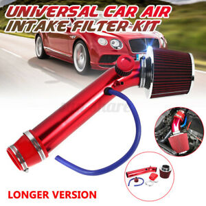 Universal Red Car Cold Air Intake Filter Induction Kit Pipe Hose System Alumimum