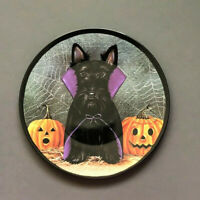 "Halloween Scotty Dog Dracula Melamine Tidbit Candy Side Plates 6"" Set of 6"