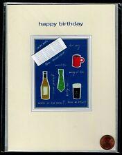 BIRTHDAY Wine Beer Tea Tie Newspaper - 3-D  Birthday Greeting Card - NEW