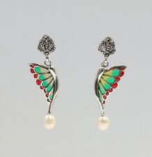 9927003 925er Silber Emaillierte Ohrringe  Flügel mit Markasiten