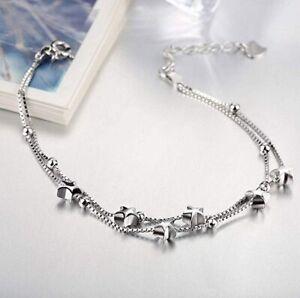 Sterling Silver Beads & Stars Charm Bracelet Adjustable Jewellery Gift 8 Inch