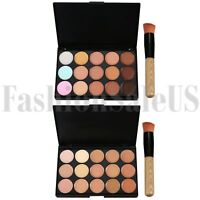 New 15 Color Face Contour Highlighter Makeup Kit Cream Concealer Palette w Brush