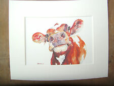 """Watercolour cow, print, of original painting, in 10"""" x 8"""" Mount"""
