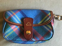 Dooney & Bourke Blue Plaid Wristlet Strap Small Purse Wallet Leather Trim