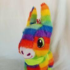 "Pride Rainbow Donkey Plush Burro Pinata Stuffed Animal 14"" Toy Smiling"
