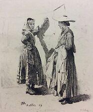 Ernest Meissonier Les blanchisseuses graveur Alphonse LALAUZE (1872-1936) 1893