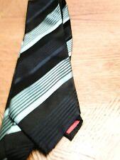 Bobby Macc.Tie.  100% Silk.  Handmade.  Light Blue, Dark Blue and Black. Stripe