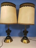 Mid-century Modern Table lamp pair with shades