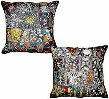 2pc Black Indian Patchwork Pillow Cover Black Bohemian Pillow Floor Cushions