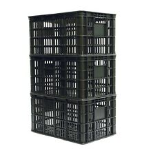3-Pack Plastic Milk Crate Heavy Duty Stackable Dairy Storage 29qt 18.5