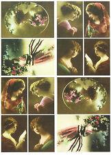 A/4 Classic Decoupage Paper Scrapbook Sheet Vintage Woman in Color
