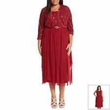 R&M RICHARDS Burgundy Sequin Lace Jacket Dress, 14W *NWT